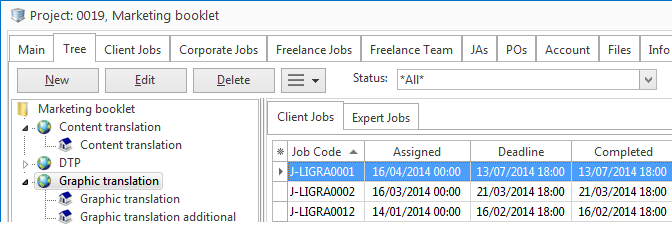 View of project showing corporate jobs and freelance jobs